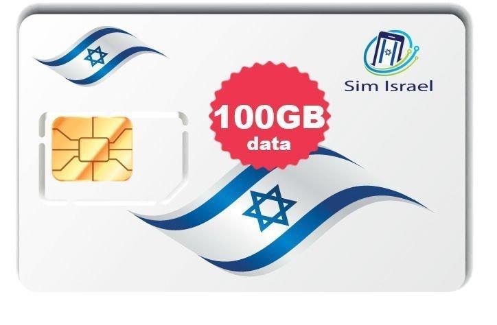 Karta Sim z pakietem 100GB mobilnego internetu 4G w Izraelu - 7 dni ważności pakietu
